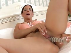 Melissa Monet is ready to play with her favourite toy