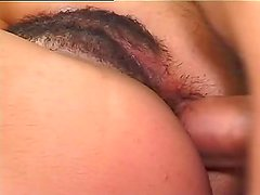 Testing hairy anal hole of brunette
