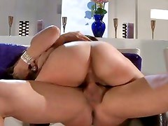 A hot cock slams Sarah Vandella up her juicy vagina as she moans in pleasure