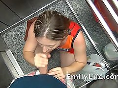 Blowjob in the elevator with Emily a real amateur MILF