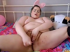 Chubby taboo princess Christina with white ass masturbates