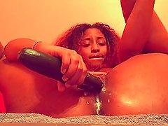 BIG Cucumber Keeps me squirting like never Before