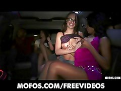 College party girls strip down in the back of the limo