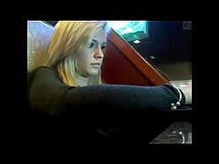 Blondie in public bar flashes on webcam