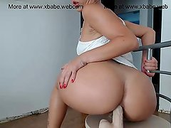 Amatuer babe trying her new dildo infront of