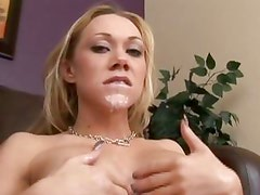 Samantha Sin works a dick and later gets a white load in her face