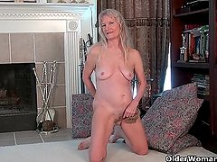 Next door granny Claire strips off and plays