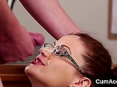 Flirty babe gets cum load on her face sucking all the jism