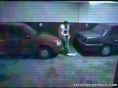 Horny Couple Fucking In The PArking Lot In Voyeur Vid