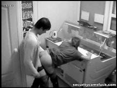 Horny Babe Getting Caught Fucking AT Work By A Voyeur Cam