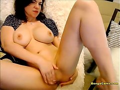 Brunette milf with natural big tits teasing