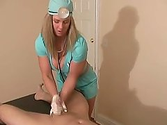 Squeaky Clean Surgical Nurse Jenny Gives a Severe Prostate Milking and Exam