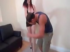 Guy fights leather catsuit babe
