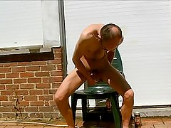 some anal fun. masturbating full nude in my backyard