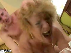 MILF gets her hairy cunt stuffed by a stud