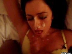Hot Busty brunette Goes Down and Gets a Creamy Facial