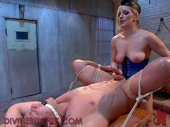 Hot Blonde Master Muffles up her Slave and has her way with Him