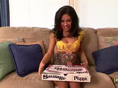 Hot Brunette Eva Ellington Rides A Pizza Guy's Hard Cock