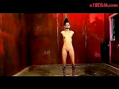 Girl In Long Sock Tied Arms Tortured With Clips Pussy Stimulated With Vibrator By Master In The Dungeon