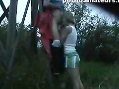 Amazing home movie with hot couple fucking outside