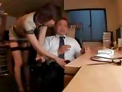 busty boss gives hardwork employee great handjob