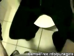 EMO Amateur Goth Teen Blowjob in Bathroom!