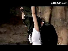 Blindfolded Girl In Skirt Hanging Mouthgag Nipples Tortured With Clips Spanked Fingered In The Dungeon