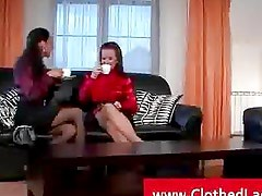 Upper class ladies fucked in a sofa