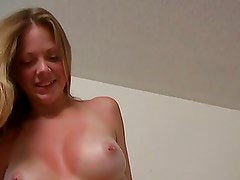 Hot Homemade Video With Sunburned Sweetheart With Some Fantastic Love Melons Taking Cock