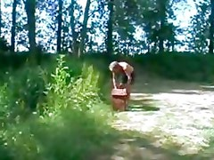 cute Teen and Old man Outdoor erotic sex in forest