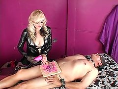 Mature Blonde Mistress Elaborate CBT and Flogging