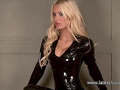 Sexy blonde fetish babe Alessandras latex wear and shiny rubber kink
