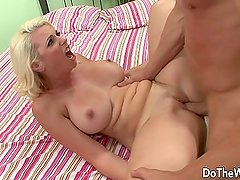 Blonde wife takes huge cock