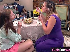 Busty Christina and hairy Darcy lesbian sex
