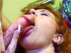 Great retro porn with cute curly hair chick