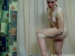 A Hot Shower With A Sexy Brunette Teen And Her Bush
