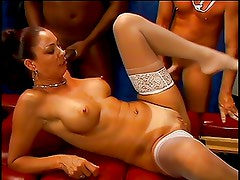 Curvy black gets her pussy licked and fucked from behind
