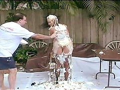 Asia Upskirt Asia Carrera Covered with pies