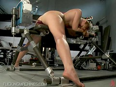 This Gal's Shaved Pussy Is Going To Be Fucked By a Machine