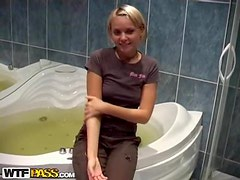 Hot naked chick fucked in the bathroom