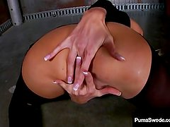 Smoking Euro Hottie Puma Swede Masturbates & Lights Up in Black Hose & Heel