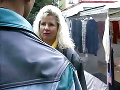 Flirting with a blonde mature in the street