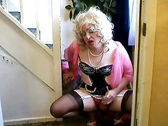 Wanking on the stairs