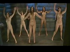 Nude ladies jumping