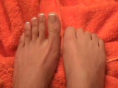 Enjoy the French manicured feet of beauty