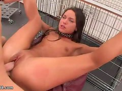 Teen slave taken from cage and fucked hard