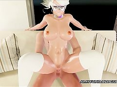 White Busty Virtual Submissive Slave Girl 69's And Fucks Anal!