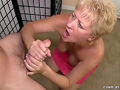 Big cumshot for the busty milf