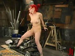 Lustful Redhead Gets Her Oiled Up Pussy Fucked By A Machine