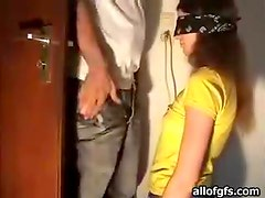 Great Blowjob From A Horny And Blindfolded Brunette